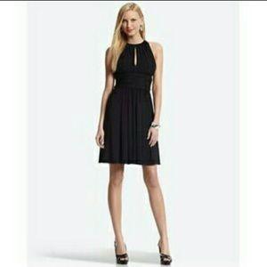 NWOT WHBM Black Keyhole Halter Midi Dress Size 2